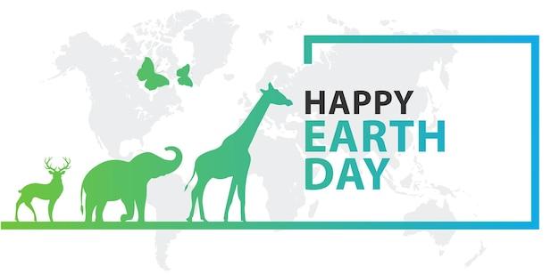 Счастливый день земли баннер с животным
