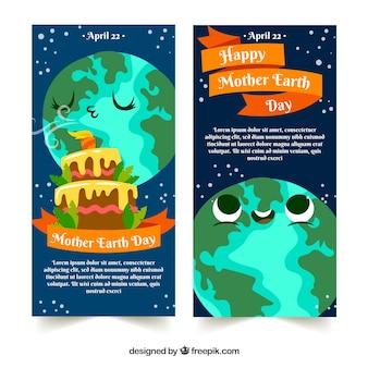 Happy banner giornata della terra con mondo carino