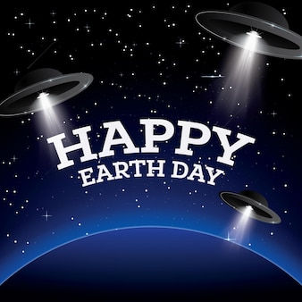 Happy earth day. earth with stars and ufo. space. vector illustration.