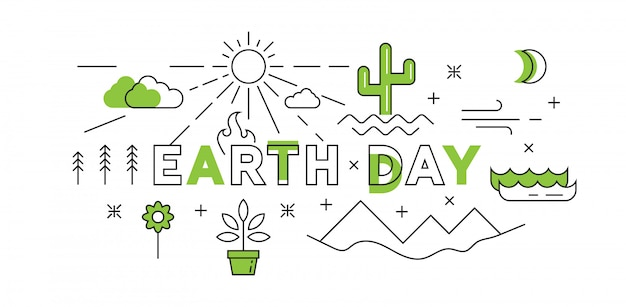 Happy earth day flat line design in green