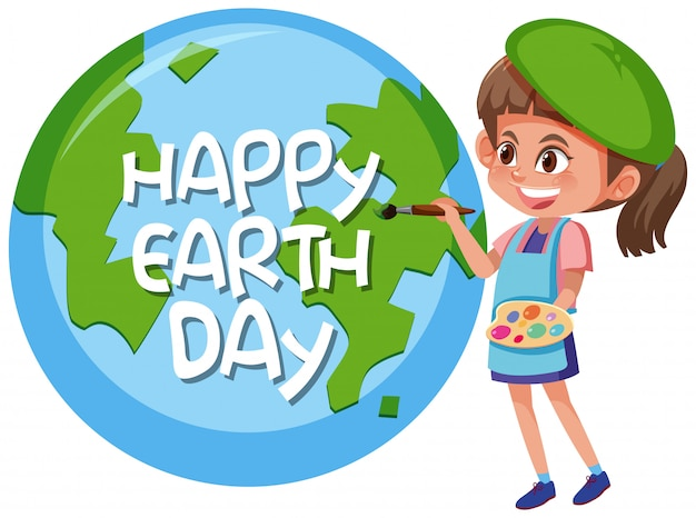 Happy earth day girl concept