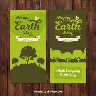 Happy earth day green banners