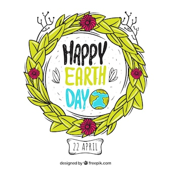 Happy earth day hand drawn background