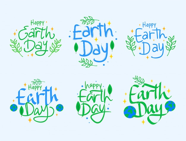 Happy earth day lettering collection set