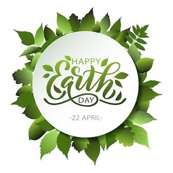 Happy earth day lettering with leaves