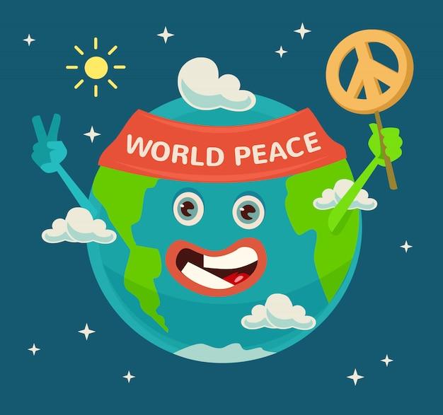 행복한 지구의 날. 행성 캐릭터. 세계 평화