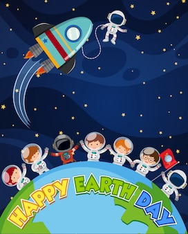 Happy earth day poster design with astronauts on earth