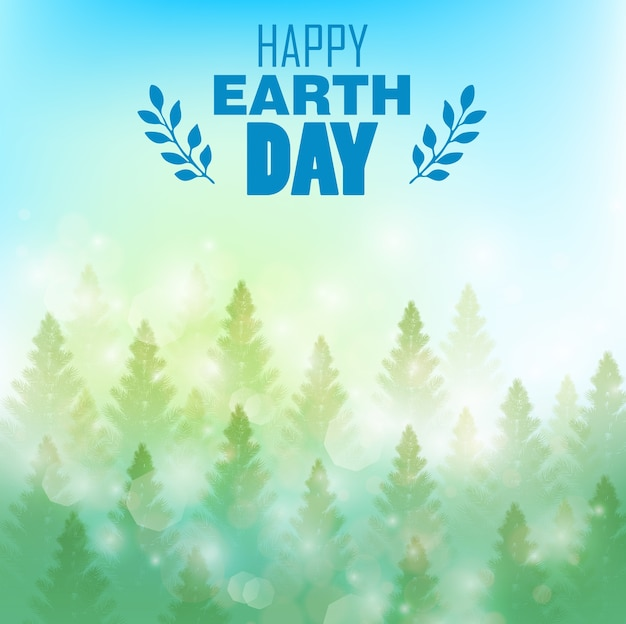 Happy earth day poster with beautiful pine forest background