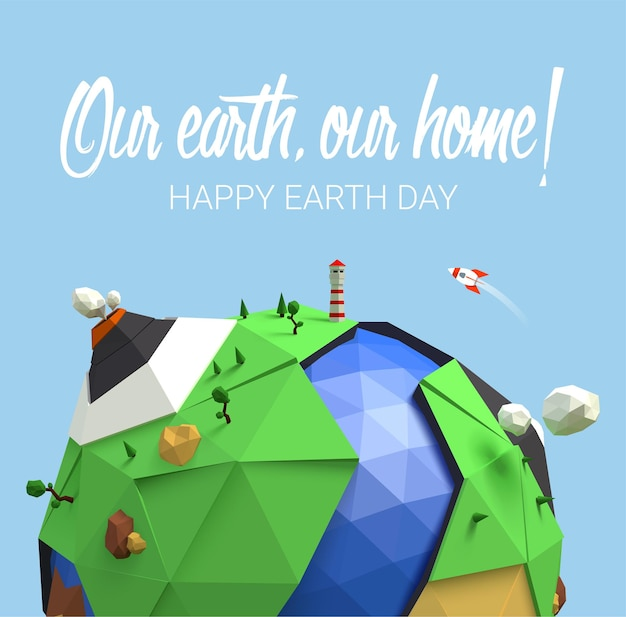 Happy earth day poster with low poly earth.
