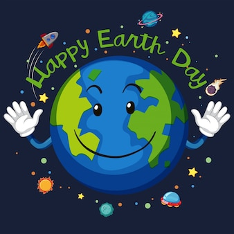 Happy earth day space concept