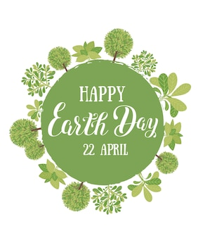 Happy earth day vector illustration with the words wooden signboard and green leaves e
