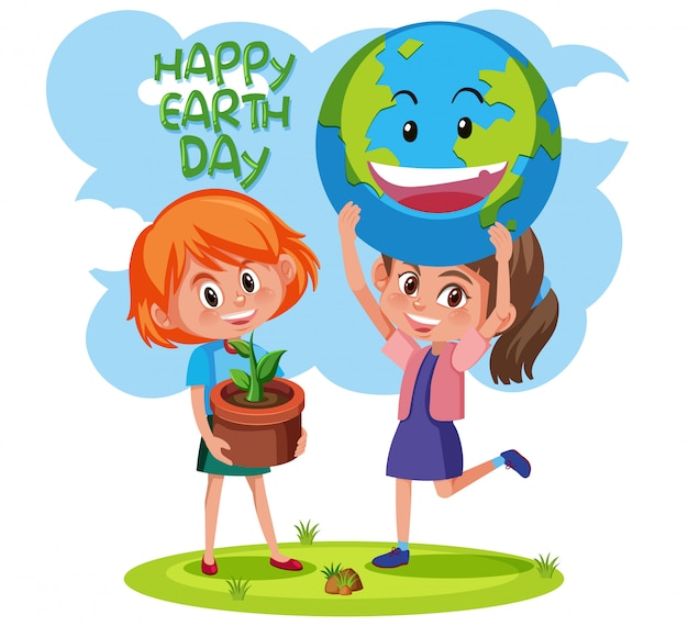 Happy earth day with girls concept