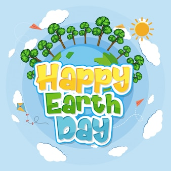 Happy earth day with green forest on globe