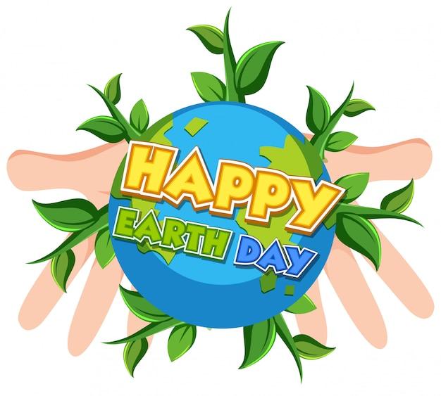 Счастливый день земли с человеческими руками, держащими землю