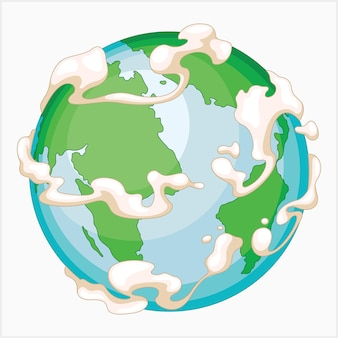 Happy earth with clouds illustration