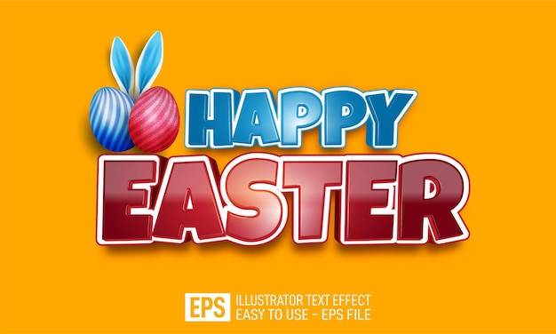 Happy easter 3d text editable style effect template
