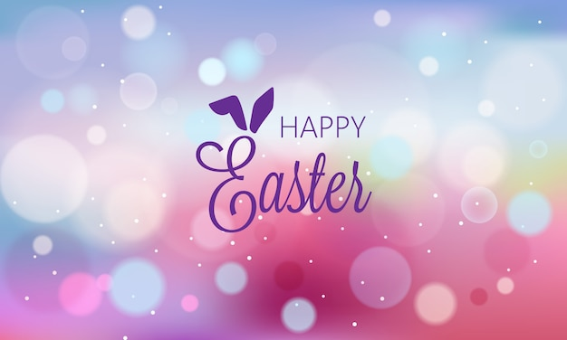 Happy easter abstract banner with blurry background and bokeh style shapes