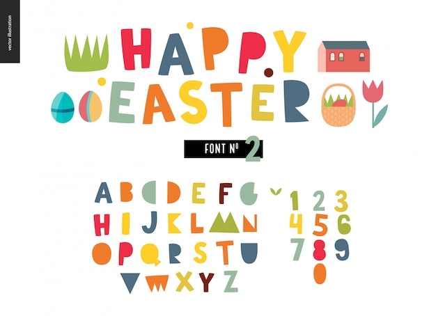 Happy easter alphabet set