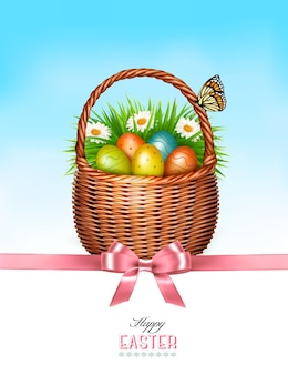 Happy easter background. basket with eggs and a butterfly against a blue sky