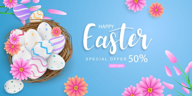 Happy easter background. rabbit shine decorated eggs