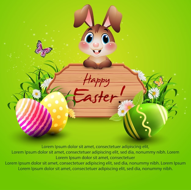 Happy easter background with cute bunny on wooden sign and colorful eggs