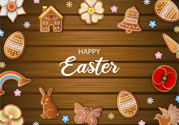 Happy easter background with gingerbread cookies