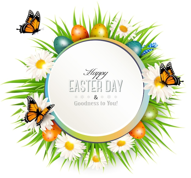 Happy easter background with grass, butterflies and easter eggs.