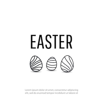 Happy easter background with line egg,
