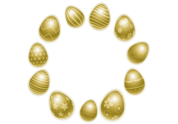 Happy easter background with realistic decorated golden eggs.