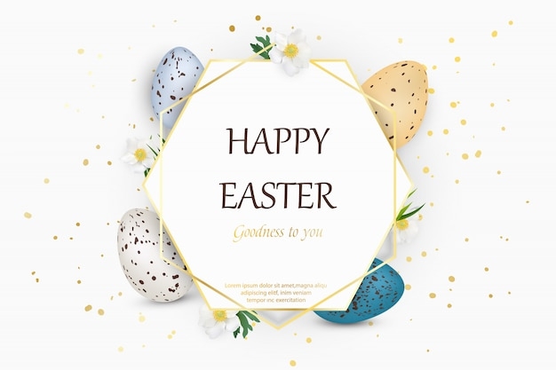 Happy easter background with realistic decorated quail easter eggs