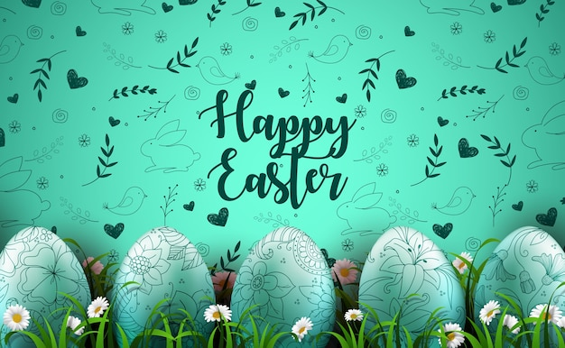 Happy easter background with realistic eggs