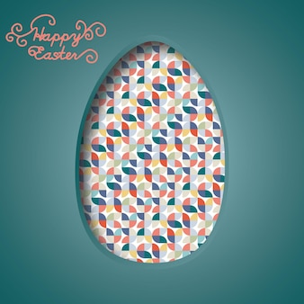 Happy easter banner colorful easter eggs and 3d abstract multicolor paper cut shapes