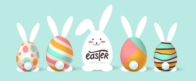 행복 한 부활절 배너입니다. 부활절 토끼와 달걀