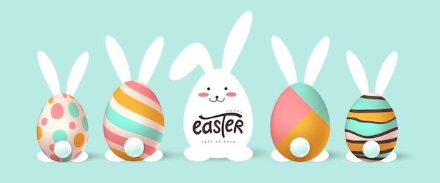 Happy easter banner. easter bunny and egg