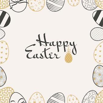 Happy easter banner frame made of eggs with pattern drawn with white chalk lines on dark blackboard