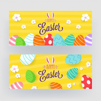 Happy easter banner set with bunny ear
