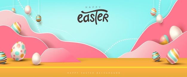 Happy easter banner studio table room product display . traditional colored easter eggs with different ornaments.
