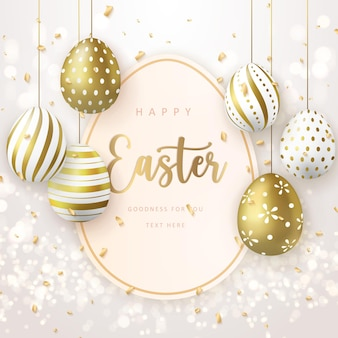Happy easter banner template with golden luxury easter eggs tag card