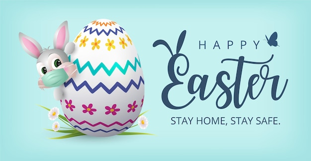 Happy easter banner with bunny wearing face mask and colourful painted egg