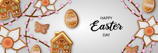Happy easter banner with gingerbread cookies