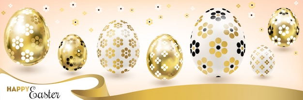 Happy easter banner with golden eggs and silk ribbon