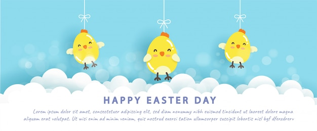 Happy easter banner with little chickens in paper cut style.
