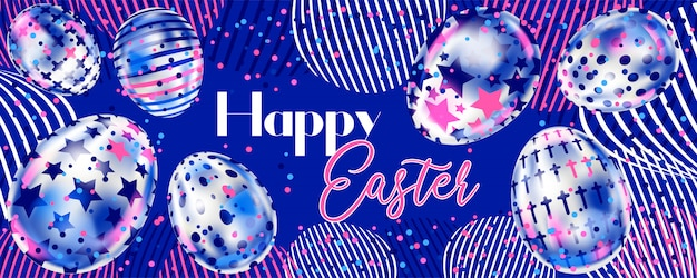 Happy easter banner with metallic silver eggs