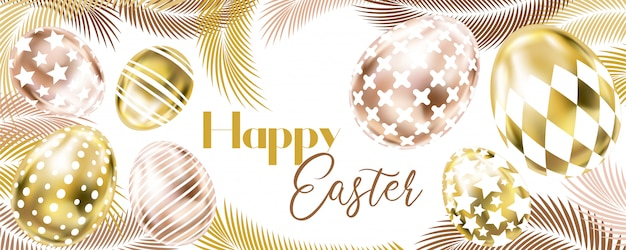 Happy easter banner with pink golden eggs and palm