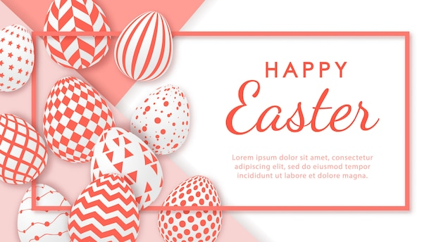 Happy easter banner with realistic eggs and space for text.