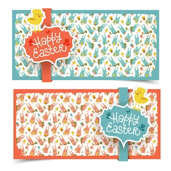 Happy easter banners vector illustration
