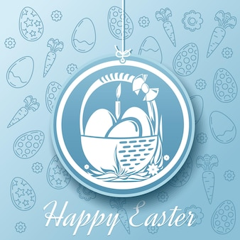 Happy easter.  basket with easter eggs   illustration