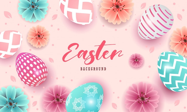 Happy easter beautiful design with eggs and flowers