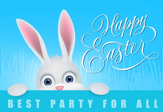 Happy easter best party for all lettering with peeping hare on blue background.