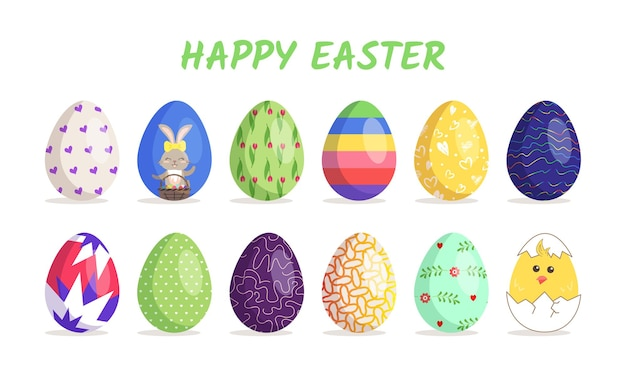 Happy easter big collection of eggs with different textures patterns and festive decorations on a wh...